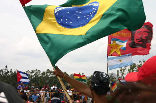 2g-brazil-flag. Visitors from around Latin America attended a rally in